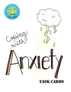 This product contains 24 task cards related to vocab words related to anxiety (trigger, self-talk, coping skills), ideas for coping and problem solving.