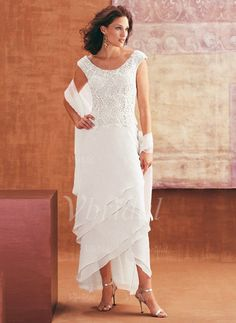 Mother of the Bride Dresses - $161.29 - Sheath/Column Scoop Neck Asymmetrical Chiffon Mother of the Bride Dress With Appliques Lace Cascading Ruffles (0085097334)