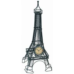 Timepiece - Eiffel Tower Table Clock ($62) ❤ liked on Polyvore featuring home, home decor, clocks, metal clock, black metal clock, inspirational home decor, black mantle clock and black mantel clock