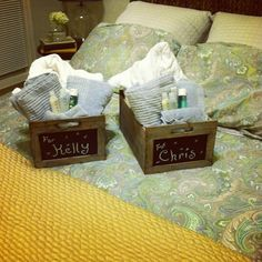 Welcome baskets for the guest bedroom. Love the chalk board side on the baskets to write your guests name on.