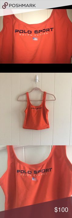 Ralph Lauren Cropped Tankini Swimsuit Top! Polo Sport Ralph Lauren Cropped Tankini Swimsuit Top/ Neon Orange/Worn but AMAZING Condition!!! Polo by Ralph Lauren Swim Bikinis