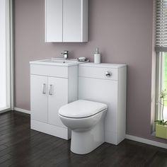 £289 - Turin High Gloss White Vanity Unit Bathroom Suite W1100 x D400/200mm