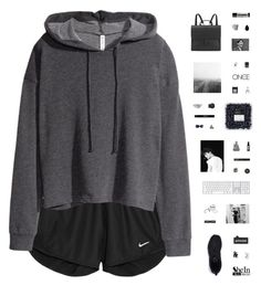 """""""TRACK"""" by c-hristinep ❤ liked on Polyvore featuring NIKE, H&M, CB2, Topshop, Royal Selangor, Edward Bess, Rough Fusion, Universal Lighting and Decor, NARS Cosmetics and Aesop"""