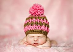 Pom Pom Beanie for Boy or Girl - Crochet Pattern - Newborn, Baby to Adult, All Sizes