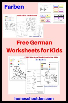 Free German Worksheets for Kids - Farben Help your kids learn their colors in German with these fun free worksheets. This post also has other free printables such as number, school materials and more! School Worksheets, Worksheets For Kids, Educational Activities, Preschool Activities, German Language Learning, Language Lessons, Learn German, French Lessons, School Lessons