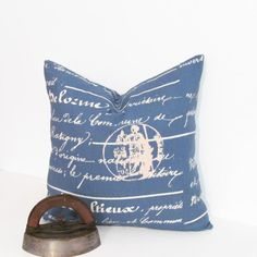 French Script Accent Pillow  Decorative Paris Pillow Cover French Stamp Natural Denim Blue Cushion
