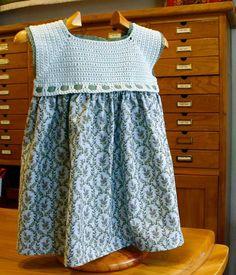 vestido de crochet y tela para niña - Buscar con Google