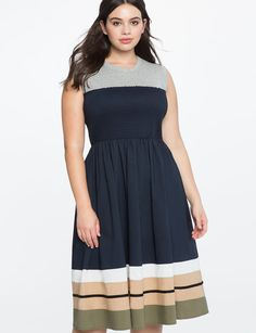 Smocked Bodice Faux Strapless Dress from eloquii.com