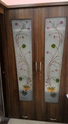 new ideas stained glass door diy ideas Double Door Design, Main Door Design, Front Door Design, Wooden Double Doors, Wooden Doors, Window Glass Design, Pooja Room Door Design, Glass Painting Designs, Stained Glass Door