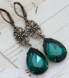 Vintage Earrings - Emerald Green Earrings & Antique Brass - Victorian Bridesmaids Wedding - Handmade by Inspired by Elizabeth. $22.50, via Etsy.