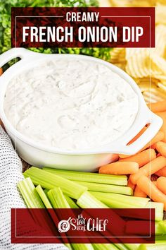 Creamy French Onion Dip is a classic party appetizer, traditionally served with crinkle cut potato chips. It is addictingly delicious, and only takes 10 minutes to prepare! Serve it up at your next event, or even just as a special treat for the family! Yummy Appetizers, Appetizers For Party, Appetizer Recipes, Snack Recipes, Snacks, Bacon Wrapped Pineapple, French Onion Dip, Veggie Side Dishes, Chef Recipes