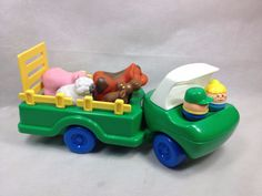 Little Tikes Farm truck with ramp Farmer wife and 4 animals cow sheep pig moose #LittleTikes