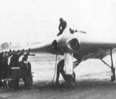 The Horten H.IX, RLM designation Ho 229 was a German prototype fighter/bomber designed by Reimar and Walter Horten and built by Gothaer Waggonfabrik late in World War II. It was the first pure flying wing powered by jet engines. Did not see combat.