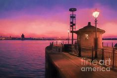Philip Preston - Sunset Over River Mersey At Pier Head, Liverpool, Merseyside, UK
