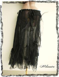 Jupe longue noire gothique dentelles - style goth - jupon tulle froissé  : Jupe par milunaire