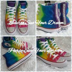 57e3f9163215 Custom Rainbow Tie Dye High Top Converse - Infants To Adult Sizes - Tie Dye  Shoes - Made To Order- Swarovski Crystal Converse