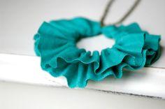 linen ruffle necklace in seafoam green antique by prettiesbymeg, $23.00