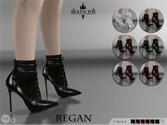 "by Madlen - Regan Boots - ""Wanna be a tough girl? What are you waiting for? Get your sim a new pair of these gorgeous looking shoes! A must-have lace-up ankle boots with sexy stiletto heel. HQ leather texture in 7 colors. Mesh is completely new, made by myself and low poly. Joints are perfectly assigned. All LODs are replaced with new ones. You cannot change the mesh, but feel free to recolor it as long as you add original link in the description."""