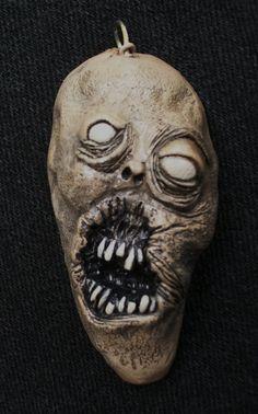 Zombie Rock ZombieHead Pendant by ZombieHead on Etsy, $40.00