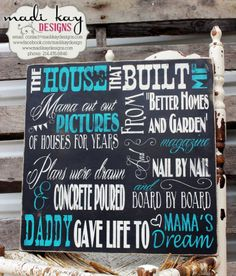 Parents Wedding Gift House That Built Me Sign by MadiKayDesigns, $59.99