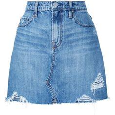 Nobody Denim Piper Skirt Angel (102.335 CLP) ❤ liked on Polyvore featuring skirts, mini skirts, bottoms, blue, high-waist skirt, high waisted a line skirt, blue a line skirt, blue skirts and short a line skirt