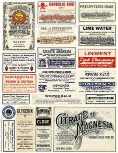 Vintage Medical Pharmacy Poison Labels Set 2 by TheOldDesignShop Vintage Labels, Vintage Ephemera, Vintage Paper, Vintage Ads, Vintage Images, Vintage Prints, Vintage Witch, Printable Labels, Printables