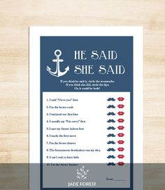 Nautical Bridal Shower Game DIY // Nautical Game, Navy, Anchor // He Said, She Said Printable PDF // Wedding Shower Game ▷ Instant Download