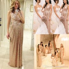 2015 Rose Gold Bridesmaids Dresses Sequins Plus Size Custom Made Maid Of Honor Wedding Party Dress Cheap Champagne Bridesmaid Dresses