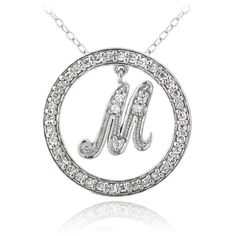 Icz Stonez Sterling Silver Cubic Zirconia Initial Necklace White (30 CAD) ❤ liked on Polyvore featuring jewelry, necklaces, white, letter necklace, pendants & necklaces, circle pendant necklace, initial pendant and cz pendant necklace