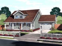 Cape Cod Country Southern Elevation of Plan 61442