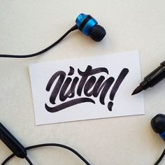Listen! . . . . #listen #headphones #music #song #phone #school #office #black #white #blackandwhite #calligraphy #lettering #brush #brushpen #brushpenlettering #typography #goodtype #typematters #artoftype #typedrawn #handlettering #graphicdesign #designspiration #handwritten #sign #words #design #marker via Headphones on Instagram - Best Sound Quality Audiophile Headphones and High-Fidelity Premium Earbuds for Hi-Fi Music Lovers by AudiophileCans
