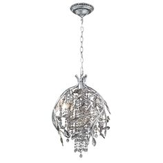 Autumn Twilight Pendant is available in a Mystic Gold or Mystic Silver finish with Crystal Accents.  Available in a small and large size. 20 watt, 12 volt JC type G4 base halogen lamps are included. Electronic transformer. UL listed for dry locations. Small: 13 inch width x 19.5 inch height x 72 inch adjustable length. Large: 19.5 inch width x 28 inch height x 72 inch adjustable length.
