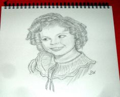 SHIRLEY TEMPLE/PENCIL DRAWING SIGNED BY ARTIST   BW