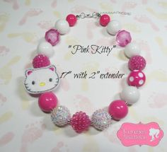 """""""Pink Kitty"""" Chunky Beaded Necklace Child, Adult, Photo Prop"""