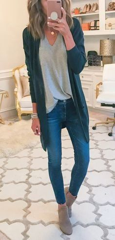 #fall #outfits women's black blazer, gray v-neck shirt, blue washed denim fitted jeans, and pair of gray ankle boots outfit