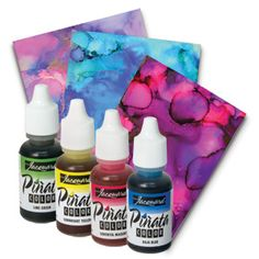 Jacquard Pinata Alcohol Inks are beautiful, highly saturated, acid-free inks that work well on many non-porous surfaces. #alcoholinkpaintings