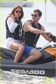 Jamie Dornan & Dakota Johnson Ride a Jet Ski for 'Fifty Shades Freed' Dakota Johnson hops on the back of a jet ski with Jamie Dornan while filming scenes for Fifty Shades Freed on Tuesday (July in Saint-Jean-Cap-Ferrat, France. 50 Shades Freed, Fifty Shades Darker, Fifty Shades Of Grey, Jamie Dornan, Fifty Shades Series, Fifty Shades Movie, Christian Grey, 50 Sombras Grey, Dakota Johnson Movies