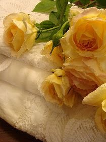 Yellow roses and lace