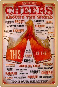 【 アメリカンブリキ看板 】 世界の『乾杯のしかた』 How to toast 「CHEERS」 Around The World サイズ:約20センチ×約30センチ。