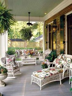 Isn't this a luxurious Porch? White wicker furniture always brightens an outdoor area.the cushions & plants add to the beauty of this Porch. Southern Porches, Southern Living, Southern Style, Southern Comfort, Southern Charm, Southern Girls, Southern Hospitality, Back Porches, Decks And Porches