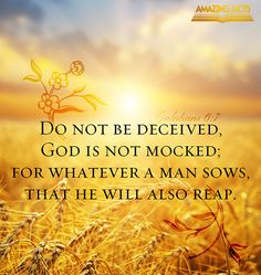 """""""Do not be deceived, God is not mocked; for whatever a man sows, that he will also reap."""" Galatians 6:7"""