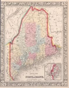 County map of the State of #Maine ; #PortlandHarbor and vicinity [inset]. (1863) #map