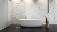 carrelage mural 3D de design hexagonal blanc dans la salle de bain contemporaine