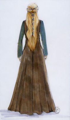 Eowyn - costume concept art - refugee dress - Lord of the Rings - The Two Towers - back