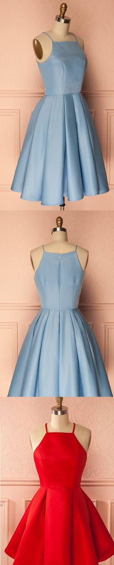 Short Homecoming Dresses Cheap, Homecoming Dresses With Straps, Blue Homecoming Dresses, Short Homecoming Dresses, Homecoming Dresses Cheap, Cheap Homecoming Dresses, Cheap Dresses Online, Cheap Party Dresses, A-line/Princess Homecoming Dresses, Blue Party Dresses, Short Blue Homecoming Dresses With Pleated Knee-length Straps Sale Online