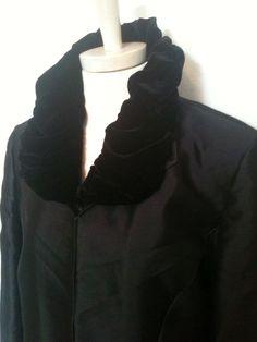 89022999c2e Randolph Duke Look Black Silk Coat Collar Velvet Ruched 14 Mint   RandolphDuke  BasicCoat Silk