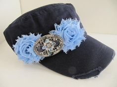Cadet Hat, Navy Blue Distressed Military Cadet Hat, Shabby Chic Fllowers, Hat, Womens Cadet Hat on Etsy, $21.00