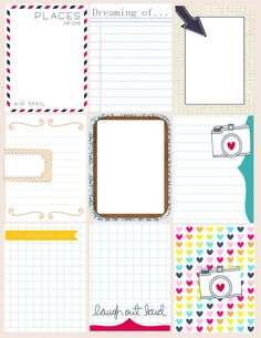 Printable -- Journal and Filler Cards Printable Planner, Planner Stickers, Free Printables, Printable Cards, Project Life Album, Project Life Cards, Travel Scrapbook, Scrapbook Paper, Project Life Freebies