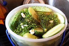 Deli Dills Refrigerator Pickles from Food.com:   These are the BEST dill pickles ever!  You don't need to can/process these pickles, as they keep in your frig for up to 6 to 9 months.  This is my most-requested recipe.  Everybody LOVES them.