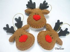 You will receive THREE ornaments. One brown reindeer, one white reindeer and one fawn reindeer. Each adorable Christmas felt ornament reindeer is hand stitched with red nose and black eyes. Hangs from pretty christmas ribbon Felt Christmas Decorations, Felt Christmas Ornaments, Christmas Ribbon, Christmas Sewing, Handmade Decorations, Christmas Crafts, Homemade Christmas, Christmas Projects, Felt Crafts